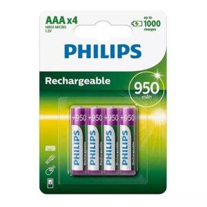 Pilas Philips Recargables AAA x 4 unidades